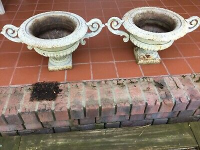 Magnificent Antique  Pair French Cast Iron Urn Garden Planters