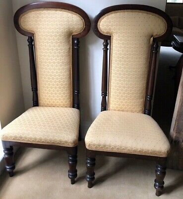 Pair of Beautiful Upholstered Victorian Mahogany Prayer Chairs (Prie Dieu).
