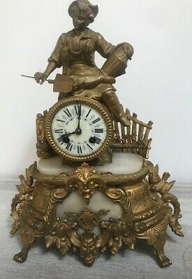 Charming Decorative Antique French Gilded Clock  - Young Gardener