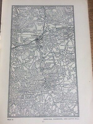 """Dorking Redmore Leith Hill Surrey c1920 Map London South of the Thames 7x4"""""""