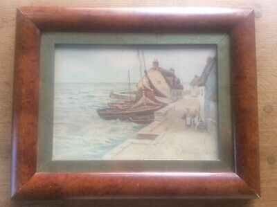Original RB Wright 1911 Signed Marine Painting Watercolour Whitby Boats Quay 15""