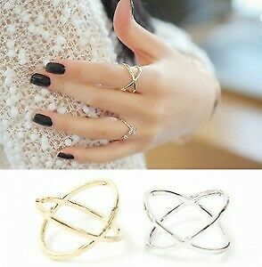 2019 New Arrivals Hot Fashion women's ring Gold Color And Silver Plated X Cross