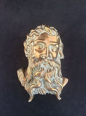 Antique Victorian Cast Brass Architectural Plaque NEPTUNE Registration Lozenge