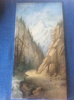 Antique French c1895 Porcelain Tile Artist Signed Handpainted Alps Painting 15""