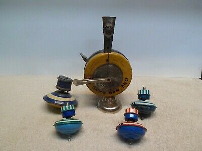 Vintage Tin Toy One Man Band, Antique Tin Toy Wind Up Spinning Tops