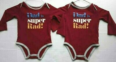 Lot 2 Carters Twin Boys 24m Bodysuit Long Sleeve Red Gray Dad