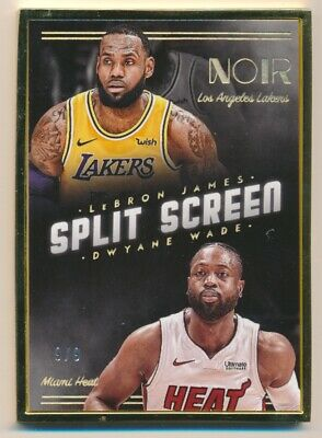 2018-19 Panini Noir FOTL LeBron James Dwyane Wade Split Screen Gold Frame 9/9
