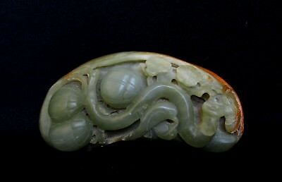 Hand- carved Natural Nephrite Hetian Jade, River Pebble Rock, Chinese Statue