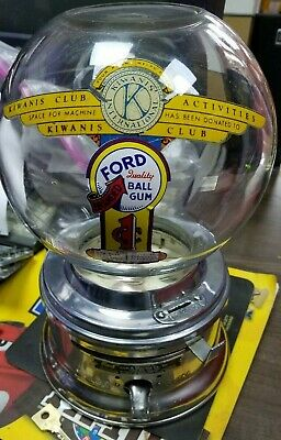1950s Ford gumball machine stainless steel penny glass globe F50 key CHICLET gum
