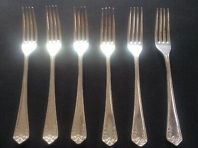 Antique Set 6 CUNARD Steamship Shipping Line Silver Plated Forks Chester EP Co