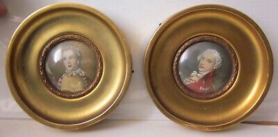2 Antique 19th Century French Miniature Portrait Oil Paintings On Bone By Bonet
