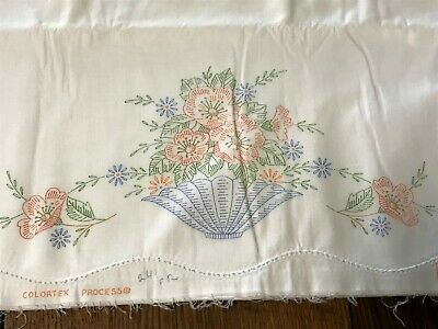 """Vintage 42"""" Cotton Pillow Case Tubing RN 21179 Stamped #685 D for Embroidery"""