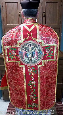 Red Chasuble Fiddleback Set Precious Blood Vestment,Stole,Maniple,Burse,Veil NEW