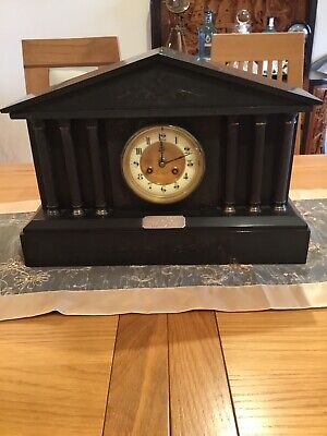 Antique Victorian Black Slate Mantle Clock