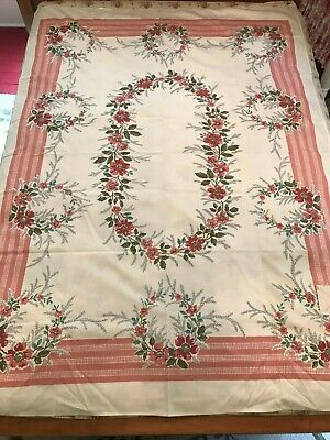 """Vintage 1940's NOS Paper Tag Prints Charming Maytime Cotton Tablecloth 52""""x 70"""""""