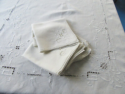 Vintage Embroidered & Pierced Linen Tablecloth w 12 Napkins 66x102