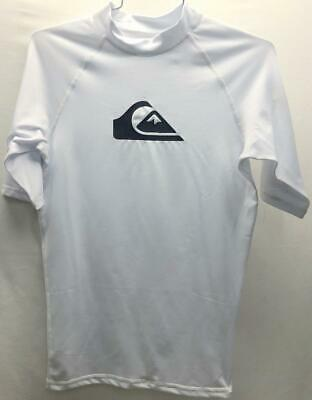 Quiksilver All Time Short Sleeve Rashguard Top Small White NEW