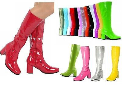 NEW LADIES WOMENS VINTAGE FANCY DRESS PARTY GO GO BOOTS 60s 70s RETRO SIZE 4-12