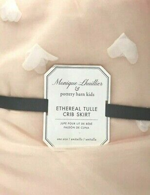 POTTERY BARN KIDS ~ MONIQUE LHUILLIER ETHEREAL TULLE CRIB SKIRT in BLUSH PINK