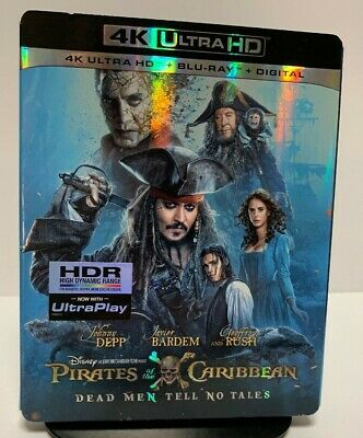 Pirates of the Caribbean Dead Men Tell No Tales 4K Ultra HD + Bluray w/Slipcover