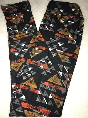 LuLaRoe Kids Leggings L/XL Large XLarge NWT Black / Gray Orange Gold Triangles