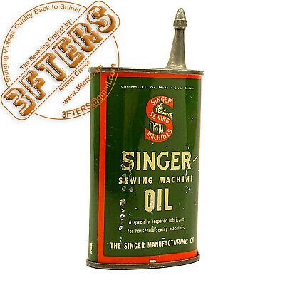 SINGER Vintage Sewing Machine Oiler Tin Can Metal Oil Container 3 Fl. Oz Empty