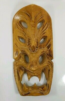 8 inch Hand Carved Wood Tiki Mask with Dragon Head Lightweight wooden