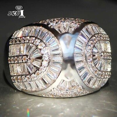 925 Silver Filled White Sapphire Birthstone Engagement Wedding Band Rings size 7