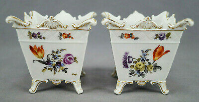 Hutschenreuther Dresden Hand Painted Floral & Gold Miniature Cache Pots 1876-87