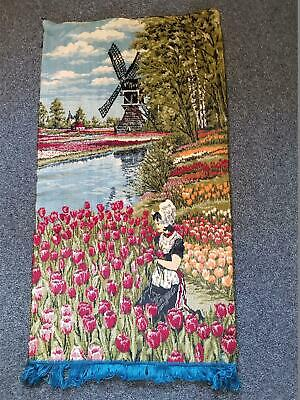Vintage European Holland Tapestry Windmill Tulips Wall Hanging Art Decor 98x35cm