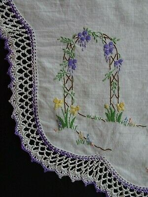 Hand Embroidered Embroidery Linen Table Centre Vintage Doily Hand Crocheted Edge