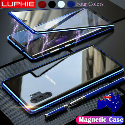 For Samsung Galaxy Note 10+ Plus 5G Case Magnetic Metal Double Sided Glass Cover