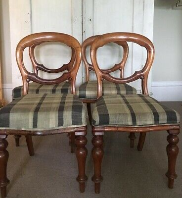 Antique Balloon Back Chairs Re-upholstered, Set Of 4.