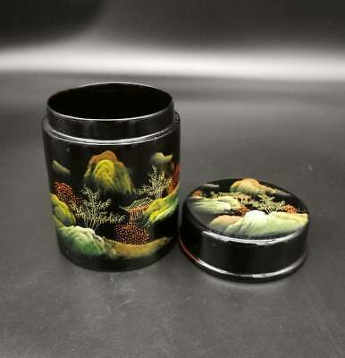 Japanese Lacquer Flower Tea CADDY Container Hand Painting / Tea Container