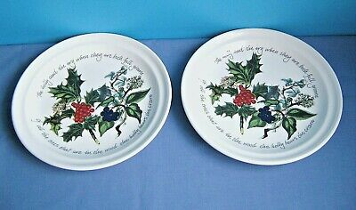 "Portmeirion "" The Holly And The Ivy "" Dinner Plates Set Of Two"