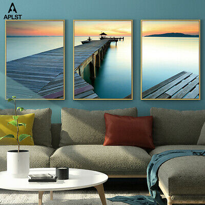 Nordic Landscape Canvas Painting Sunset Sea Beach Art Seascape Prints and Poster