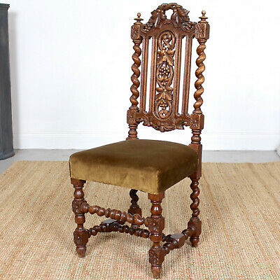 Antique Carved Oak Chair Side Chair 19th Century Heavily Fruit Barley Twist