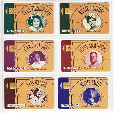 6 Phone Card Set / Telecarte .. France Pack Music Jazz Stars Topic Used/Chip