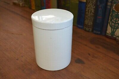 Antique Off White Cream Pottery Jar With Lid Kitchen Apothecary Crazing Rustic