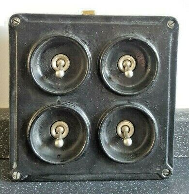 Crabtree Vintage Industrial Light Switch Four 4 Gang Salvaged Reclaimed Retro