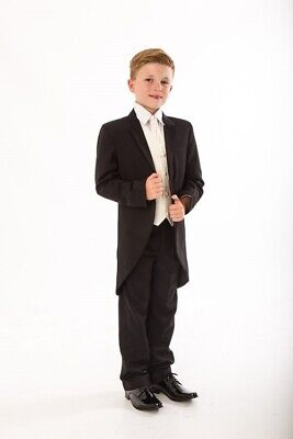 Men's Boys Tail Coat Black Tailcoat Tails Wedding Page Prom Stage Morning Jacket