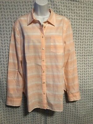 Talbots 16 XL Light Peach Pink Stripe Cotton Button Down Shirt Tab Sleeves 050