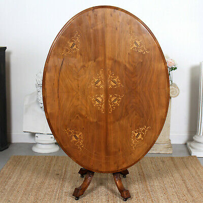 Antique Inlaid Walnut Dining Table Tilt Top Breakfast Table 19th Century