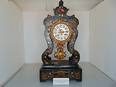 Antique French Portico Or Column Clock With Mother Of Pearl Inlaid