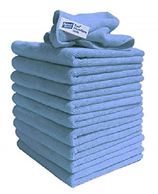 10 Pack Blue Microfibre Cloths Lint Free Cleaning Polishing Car Detailing Towels