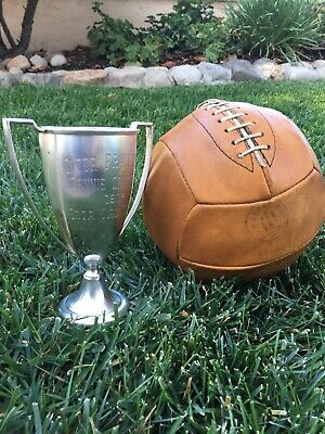 Early Antique Old 1940s MW Sporting Goods Brown Leather Laced Volleyball Vintage