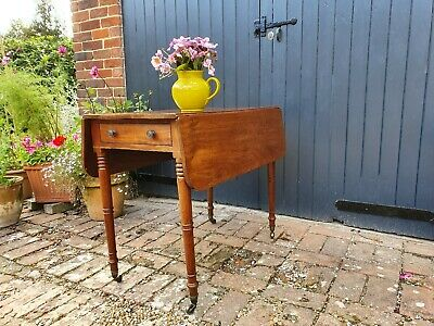 Original Victorian Mahogany Pembroke Table With End Drawer