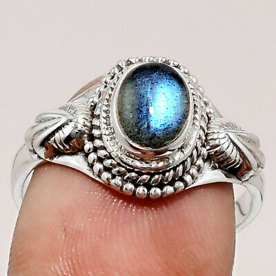 Handcrafted - Blue Labradorite 925 Sterling Silver Ring Jewelry s.9 SDR54501