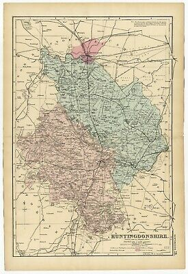 1891 Antique Map HUNTINGDONSHIRE Houses FARMS Inns RAILWAYS Stations ENGLAND