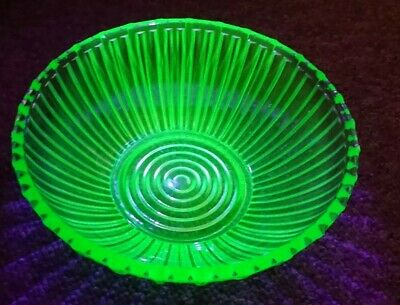 Large Vintage Uranium Green Glass Bowl with Geometric Design  approx 8x3 inches